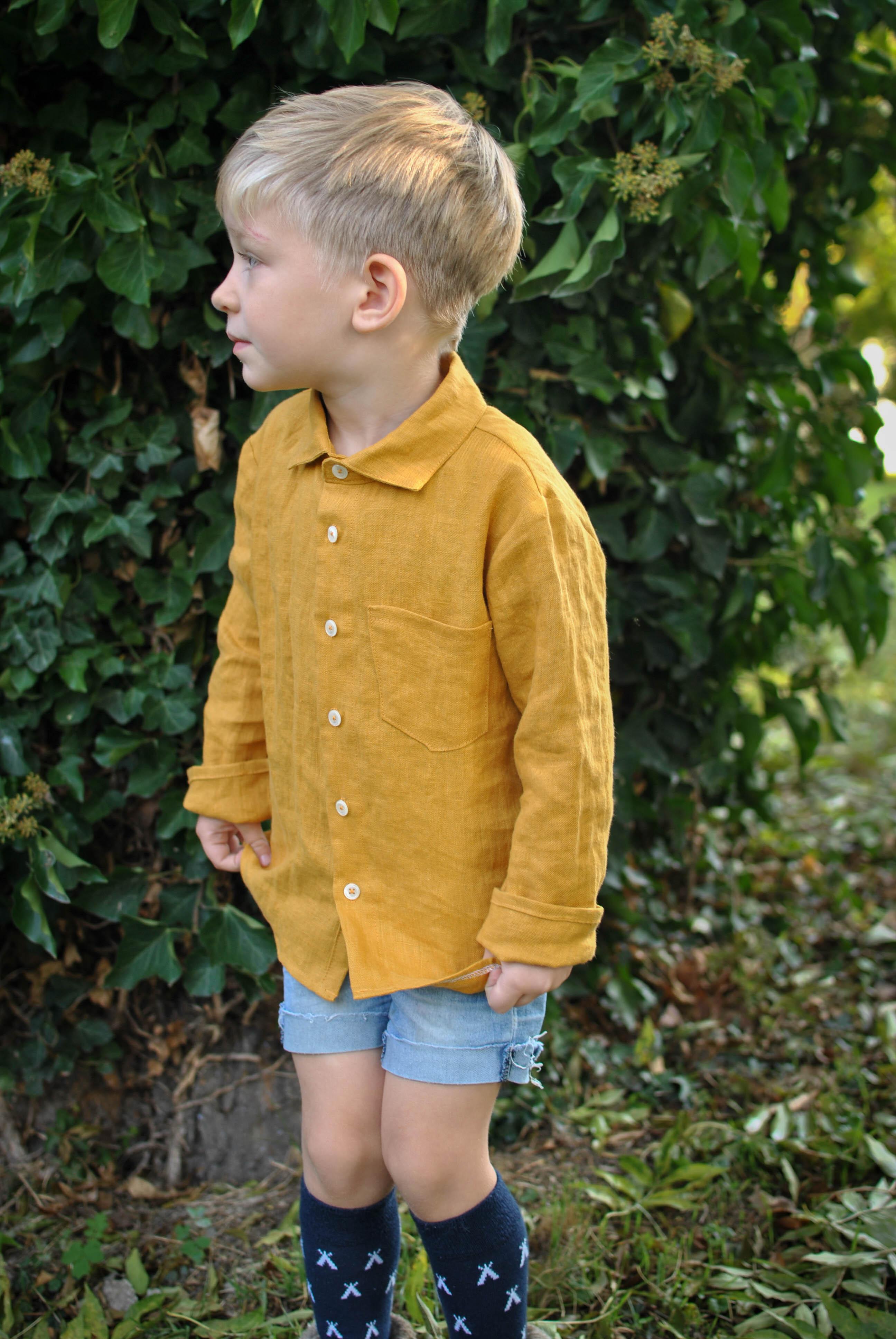 košeľa mustard dlhý rukáv